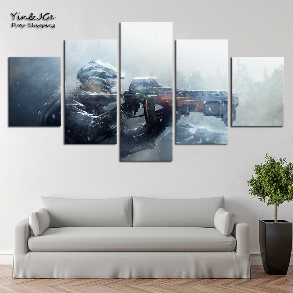 HD Printing Modern Decoration For Kids Room Wall Art Poster 5 Pieces Gun Gaming Painting Frameworks Modular Canvas Pictures 1