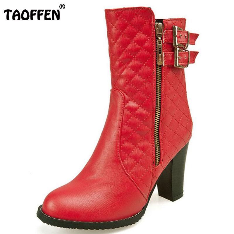 TAOFFEN Plus Size 30-48 Winter Shoes Women Thick High Heel Mid Calf Winter Boots Women Zip Metal Buckle Warm Plush Warm Botas double buckle cross straps mid calf boots