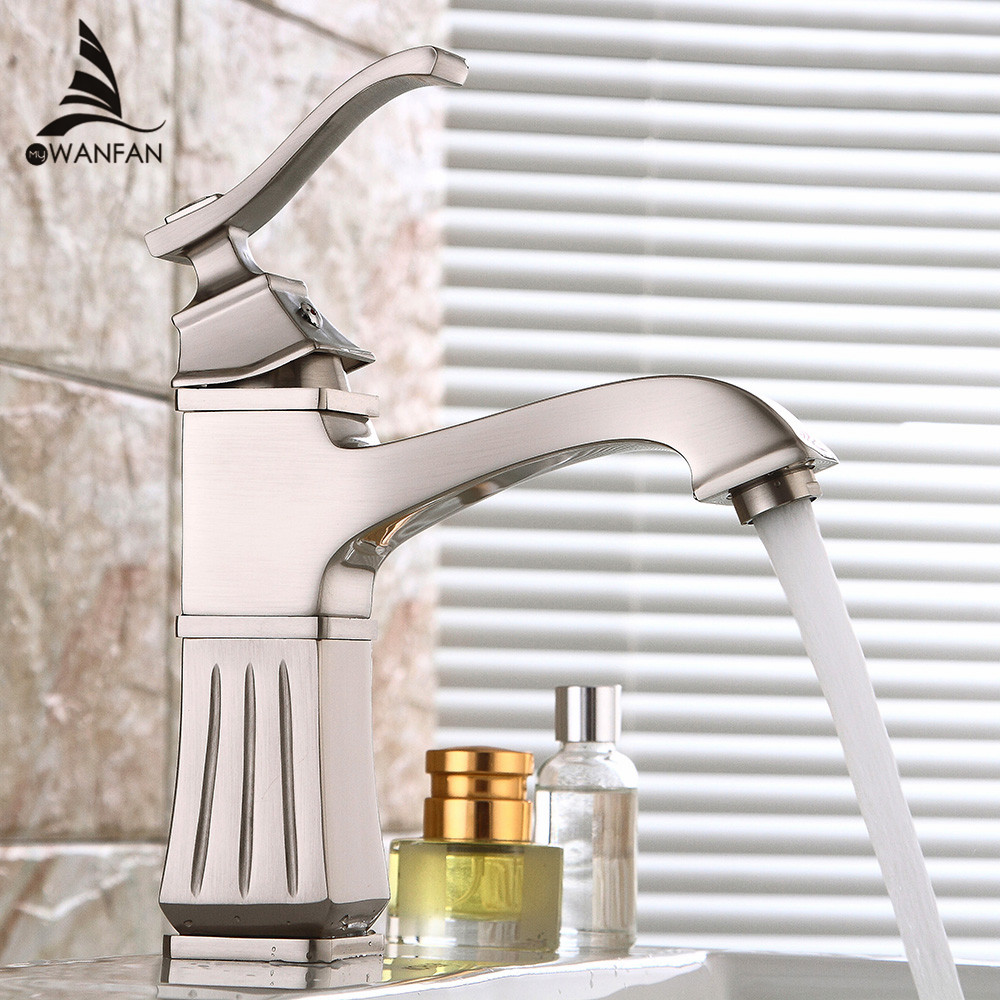 Basin Faucets Brass Brush Nickel Bathroom Sink Faucet Single Handle Deck Mounted Bathbasin Hot Cold Mixer Water Tap Crane 9218 luxury golden finish bathroom basin faucet single handle bathroom sink mixer faucet crane tap brass hot cold water deck mounted