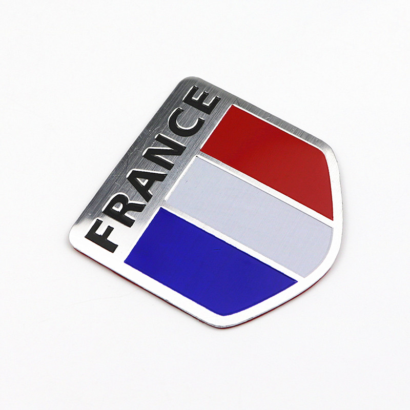 5x5cm Aluminum Alloy FRANCE French National Flags Car Body Stickers Automobiles Motorcycles Exterior Decorating Accessories
