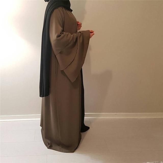 Muslim Tumpet Sleeve Cardigan Abaya Maxi Dress Long Robe Gowns Tunic Kimono Middle East Ramadan Arab Islamic Prayer Clothing 1