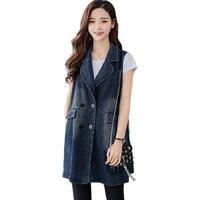 Fashion Women Vest Jacket 2018 Summer Denim Vest Coat Long Sleeveless Vests Waistcoat Jacket