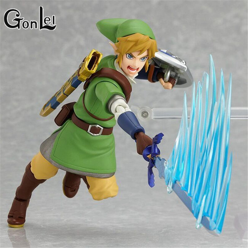GonLeI The Legend of Zelda Skyward Sword Link Figma 153 PVC Action Figure Collectible Model Toy 14cm SA643 anime the legend of zelda 2 a link between worlds link figma 284 pvc action figure collectible model kids toys doll 10 5cm