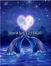 Needlework DIY Diamond Painting Cross Stitch Kits Lovely Dolphins Diamond Embroidery Full Rhinestone Mosaic Sets Animal yogotop diy diamond painting cross stitch kits full diamond embroidery dolphins 5d diamond mosaic needlework 5pcs ml104