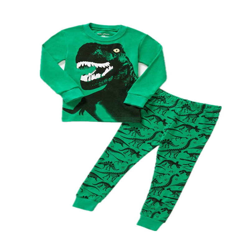 Cartoon Boys   Pajamas     Sets   Kids Sleepwear 100 % Cotton Children Dinosaur Printed Clothing nightwear boys fashion Pyjamas