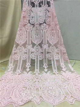 Pink Nigerian Lace Fabrics Wholesale And Retail African Sequin Lace Fabric New High Quality Swiss Voile Laces In Switzerland X12