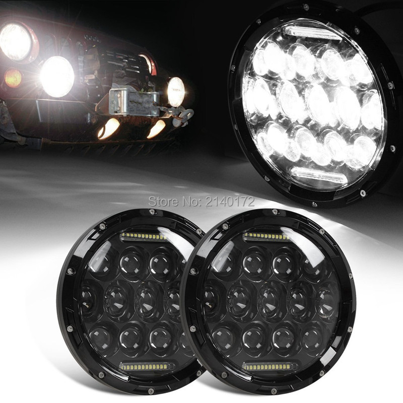 7'' 75W Round LED Headlight for Harley Davidson Touring Jeep Wrangler Black Motorcycle Car H4 H13 DRL Head Lamp 1x 75w 7 headlight motorcycle black high low beam 7inch round daymaker led head light head lamp drl for harley davidson jeep jk