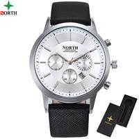Men Watch Top Luxury Brand NORTH Fashion Clock Genuine Leather Strap Waterproof Multifunction Quartz Wristwatches Gift