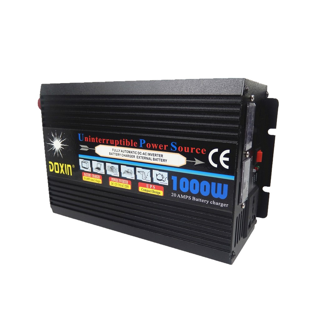 UPS 1000W DC12V to AC220V 50HZ or DC24V to AC220V 50HZ modified wave Car Power Inverter Universal+battery charging function