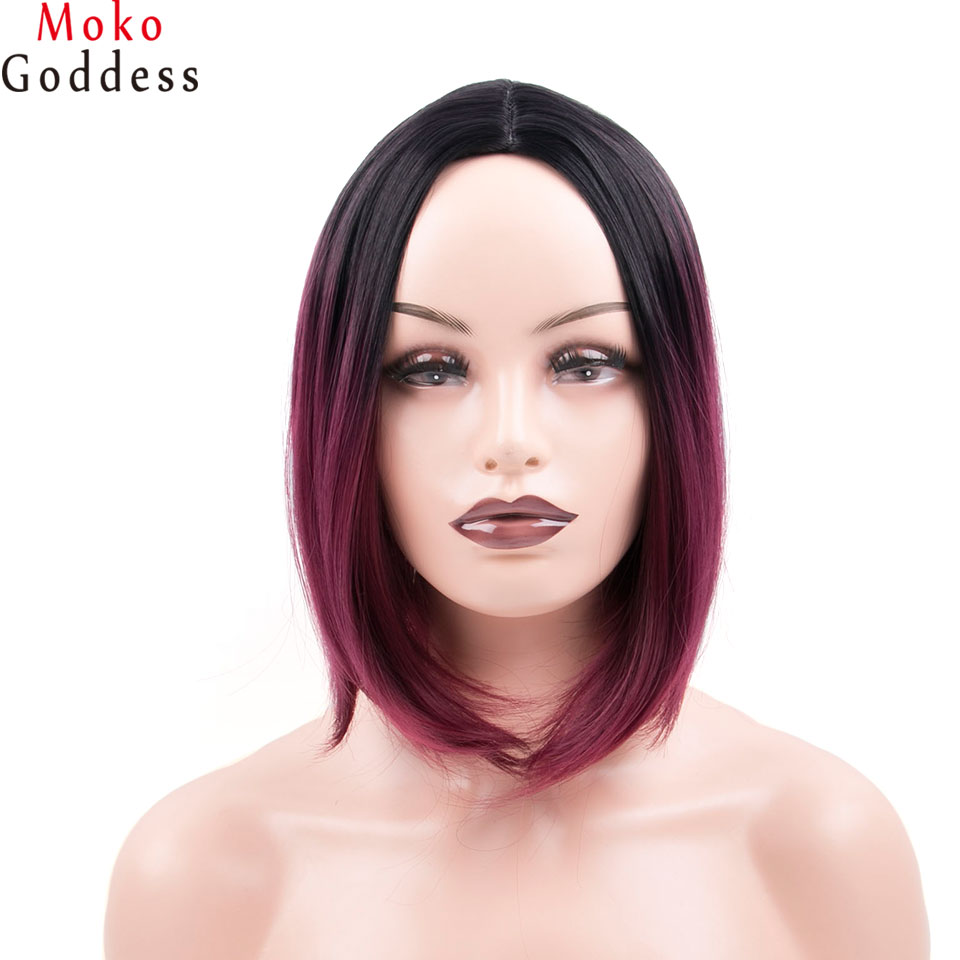 MoKoGoddess 12 Inch Short Red Wig Ombre Blonde Bob Wig Green Straight Synthetic Wigs For Women