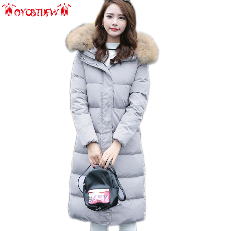 Winter women   down     coat   2018 fashion new solid color mid-long hooded fur collar Thickening High-end warm female   down   jacket ll811