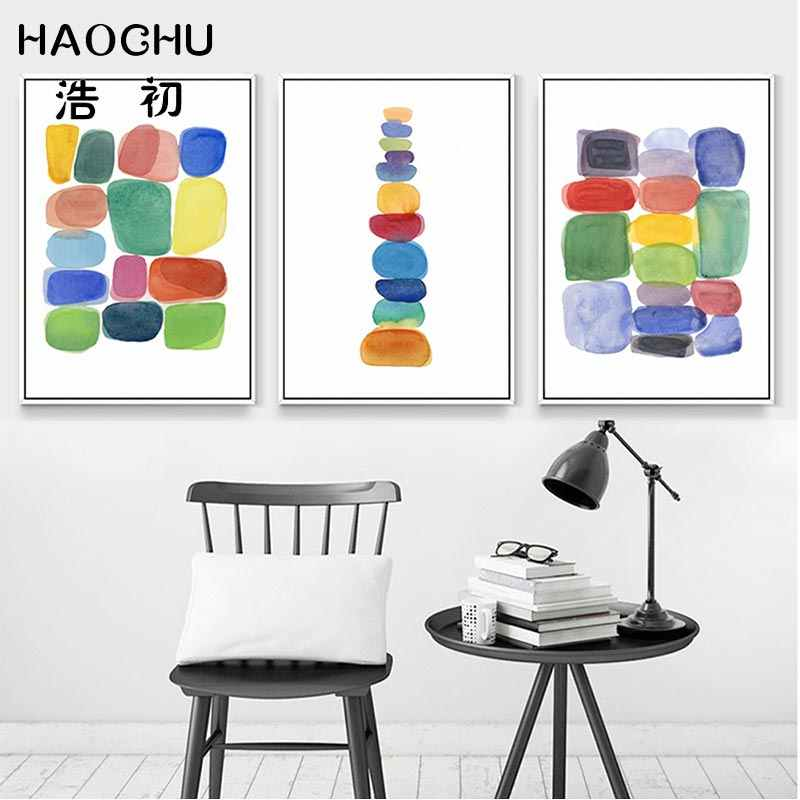 HAOCHU Nordic Poster Canvas Paintings Abstract Print Poster Simple Nordic Wall Pictures Canvas For Living Room Home Decor