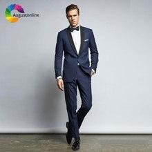 Formal Navy Blue Mens Suits Wedding Custom Made Groom Tuxedos Groomsmen Suit Slim Fit Best Man Blazers 2 Piece Party Ternos