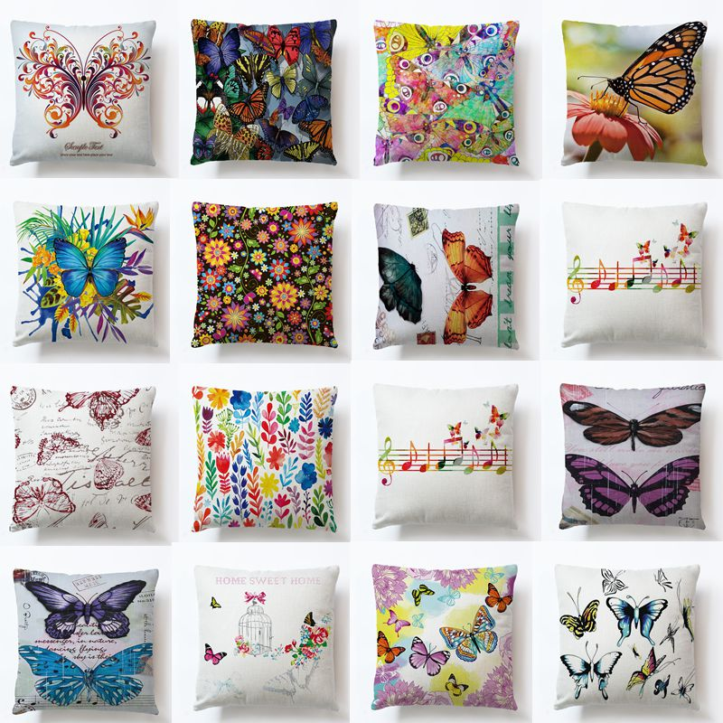25 Style 45*45 cm Cotton Linen Butterfly And Flower Leaves Cotton Linen Throw Pillow Case Cushion Cover Car Sofa Home Decor