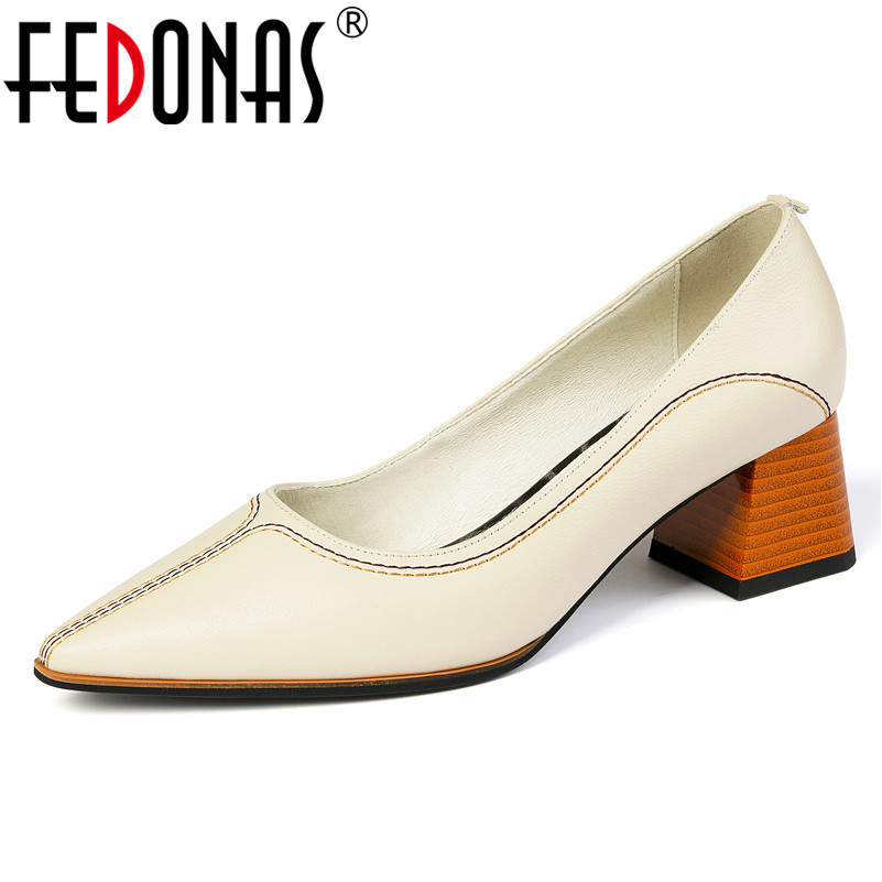 FEDONAS Women Genuine Leather High Heels Pointed Toe Basic Pumps Party Shallow 2020 Spring Autumn Elegant Slip-on Shoes Woman