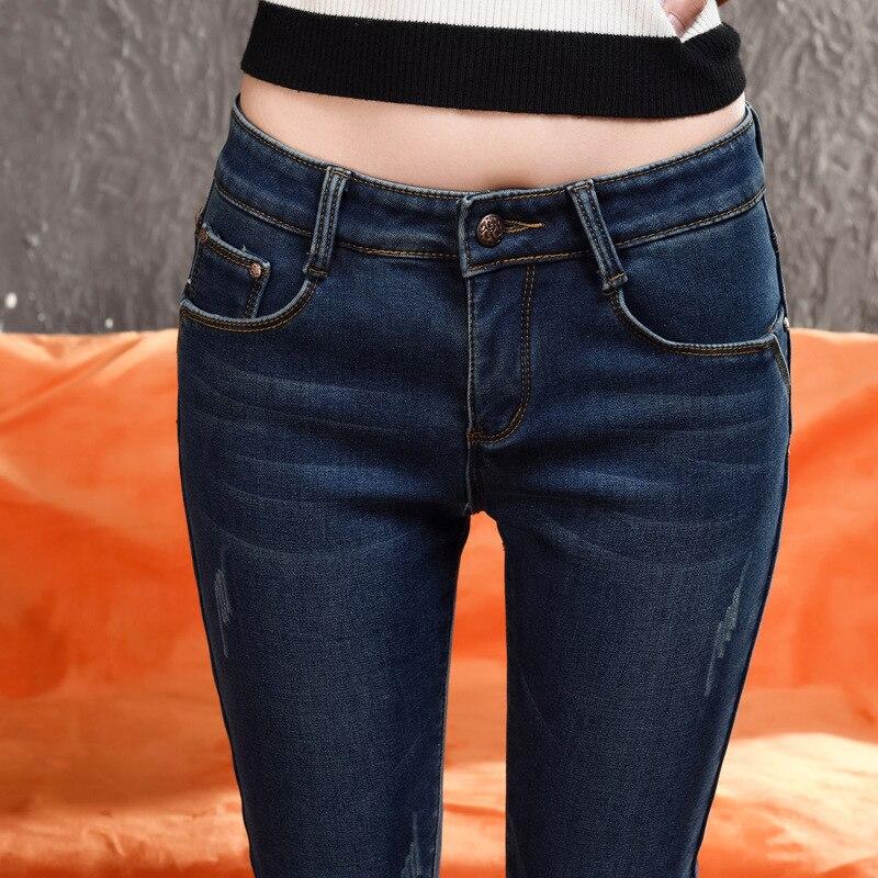 2017 Winter Warm Jeans Women Slim Denim Black Jeans Pencil Pants Trousers Skinny Jeans Woman Jean For Femme winter warm jeans woman 2017 new female pencil pants ladies plus size slim slim feet black jeans trousers women jeans long pants