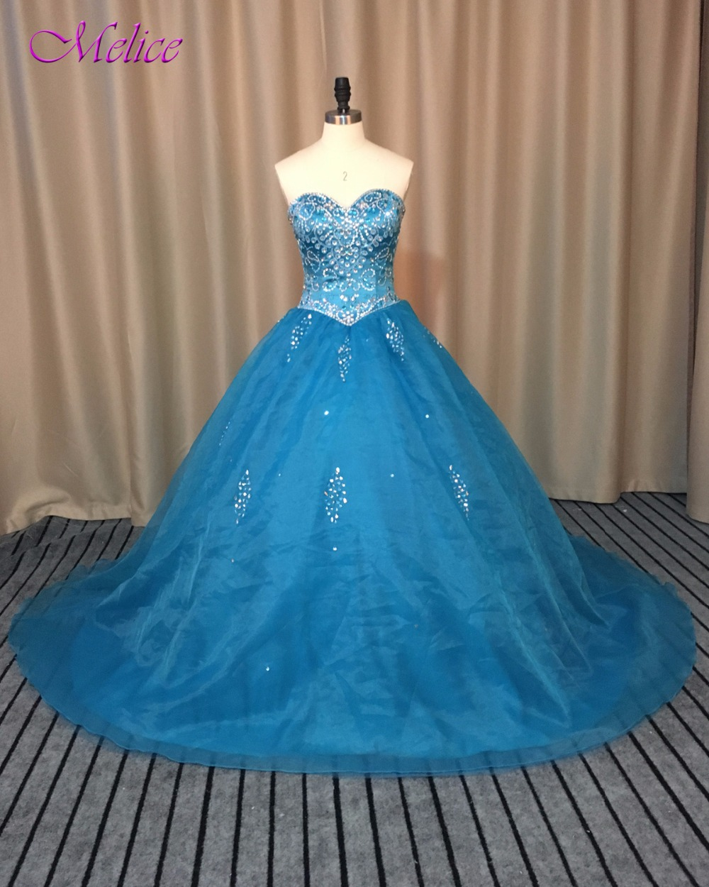 Melice Luxury Beaded Crystal Princess Quinceanera Dresses 2017 Graceful Organza Royal Blue Ball Gown Debutante Dress For 15 anos