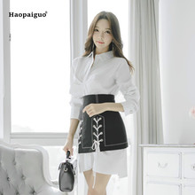 2 Piece Set Summer Women White Turn-down Collar Full Sleeve Casual Office Top and Black Korean Club Mini OL Skirt Two Piece Set 2 piece set women summer pink long sleeve o neck knitting casual top and wrap boho korean club mini dress two piece set ladies