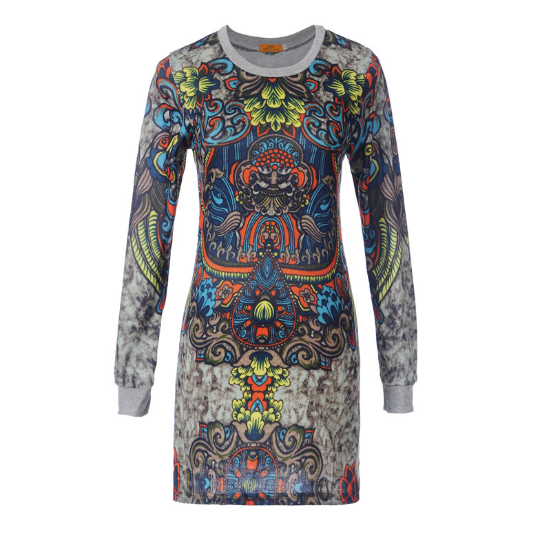 New Arrival Spring 2018 Women Vintage Dress Long Sleeve Printed Design Short Dress Gray Pink Knitted