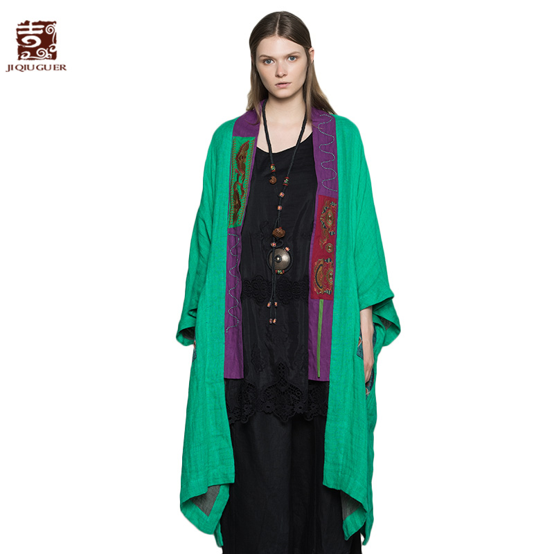 Jiqiuguer Women Autumn Open Stitch Linen Oversized Patchwork Embroidery Plus Pockets Three Quarter Sleeve Casual   Trench   G173Y046