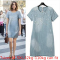M-5XL NEW summer women denim jeans plus size dress/o-neck pearl short sleeve casual thick material jeans denim dress 3xl,4xl,5xl
