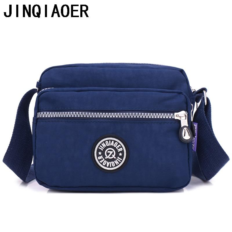 JINQIAOER Women Shoulder Bag Waterproof Nylon Cute Messenger Bag Female Handbags Small Crossbody Bag Zipper Style Bolsa