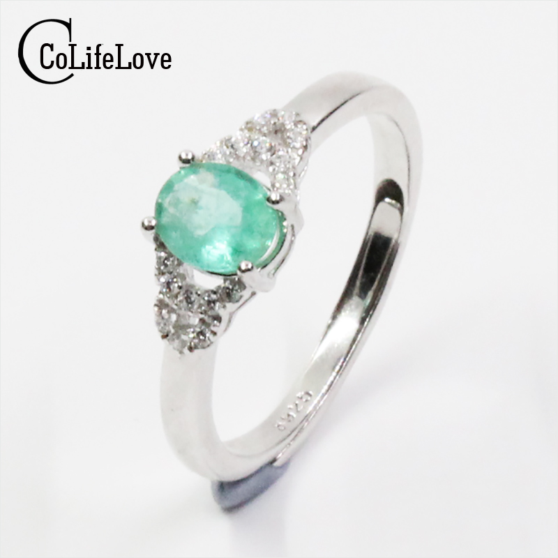 где купить Elegant emerald silver ring 4 mm * 6 mm natural SI grade emerald ring for lady solid 925 silver emerald ring for engagement дешево