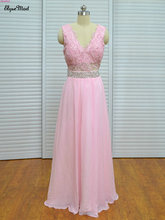 Real Photo Pink brudtärna klänningar V-Neck Cap Sleeves Formell Party Chiffon Gown Robe De Soiree Zipper Back Bridesmaid Dress