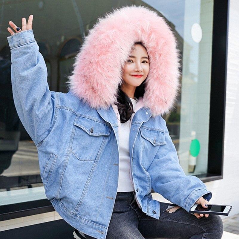 Otoño Piel Pelo Terciopelo Mujer Chaqueta E Gruesa blanco 2018 Muy rosado Y  Invierno Con Capucha Nuevo Denim Abrigo ... 9e57f777a94a