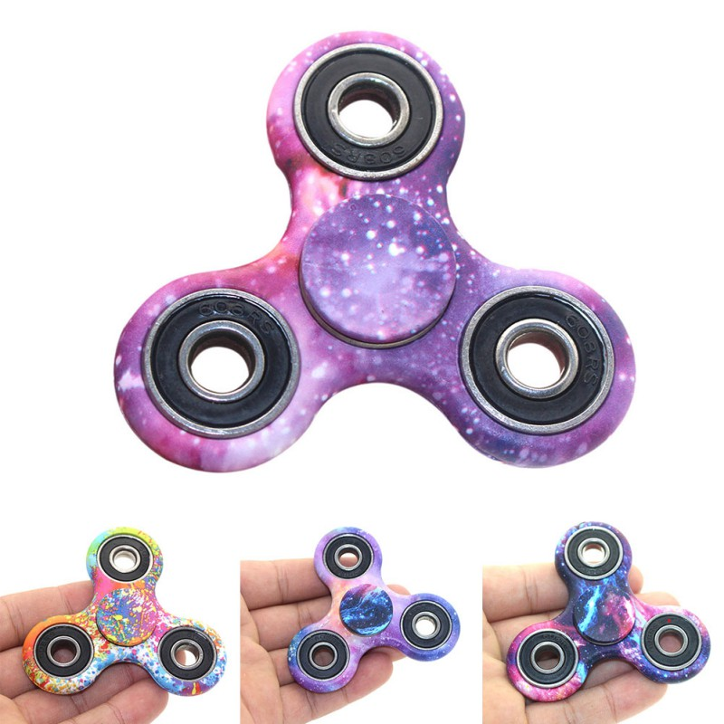 Starry Sky Colored ABS Children EDC Three Corner Hand Spinner For Autism and ADHD Anxiety Stress Relief Focus Toys killing time new arrived abs three corner children toy edc hand spinner for autism and adhd anxiety stress relief child adult gift