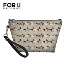 FORUDESIGNS Women Casual Travel Cosmetic Cases Zipper Femme Doxie Dog Printing Wash Kit Bags Make Up Box for Girls Pencil Bag