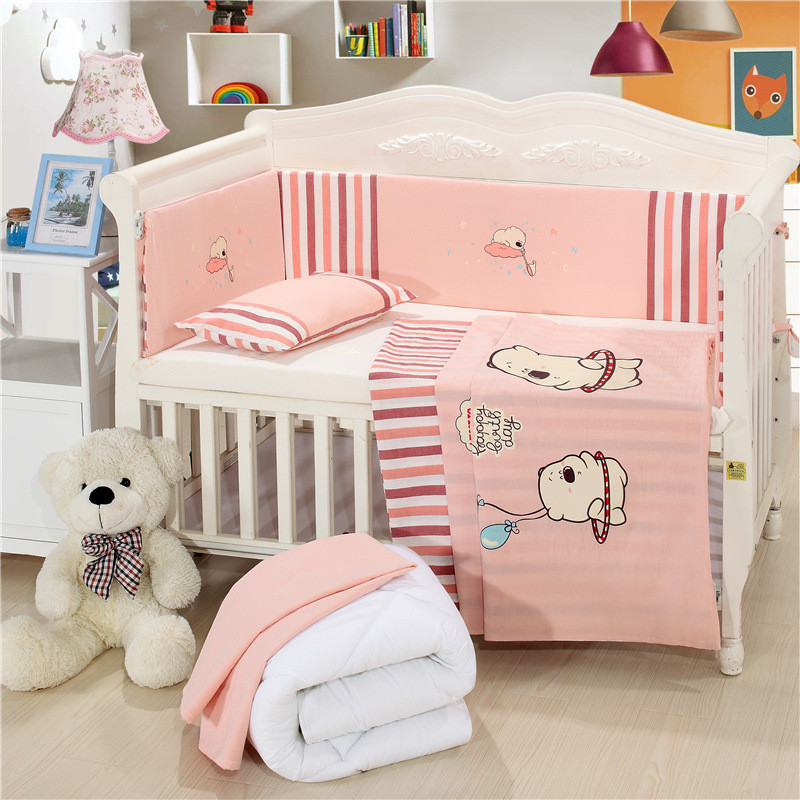 Brand New Mattress+Bed Sheet+Pillow+Bumpers+Quilt +Pillow Core+Quilt Core Crib Kit Detachable Baby Cotton Bedding Sets17