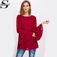 Sheinside Burgundy Tiered Flare Sleeve Tunic Blouse Autumn Round Neck Long Sleeve Ruffle Casual Top Women