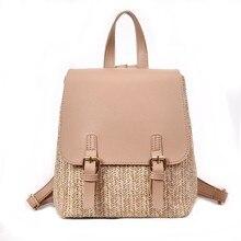 Arsmundi sac à dos tissé en paille pour femmes, Mini sac à dos de voyage de qualité pour adolescentes, à la mode