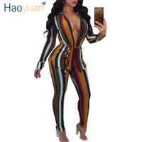 HAOYUAN Sexy Two Piece Set Women Casual Tracksuit Long Sleeve Cardigan Striped Print Tops Pants Sweat
