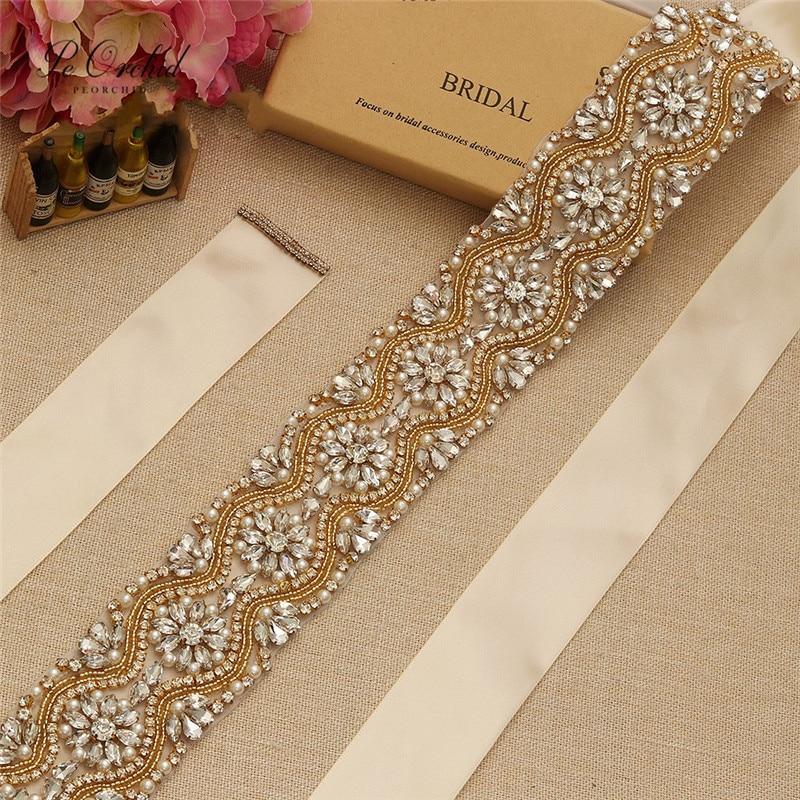 PEORCHID Bling Beaded Bridal Belt Crystal Diamond Belt For Dress Cinturones De Pedreria Rhinestone Wedding Belt Bridesmaid Sash