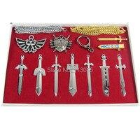 24 סטים (10 יח'\סט) האגדה של זלדה לוגו/שמיימה חרב/מגן נשק סטי שרשראות & מחזיקי מפתחות משלוח חינם על ידי DHL