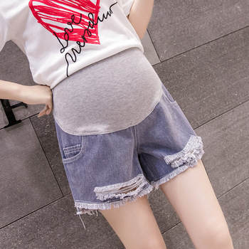 Hishiny Maternity Clothes Summer Denim Shorts Premama Broken Hole Jeans Grossesse Pregnancy Trousers Belly Support Plus Size фото