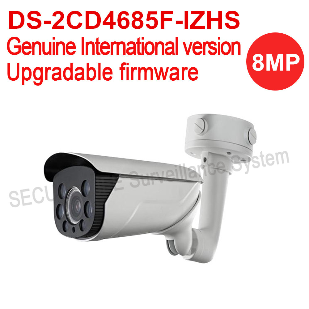 Free shipping English version DS-2CD4685F-IZHS 4K Smart Bullet CCTV Camera POE heater moterized lens with smart focus 70m IR bullet camera tube camera headset holder with varied size in diameter