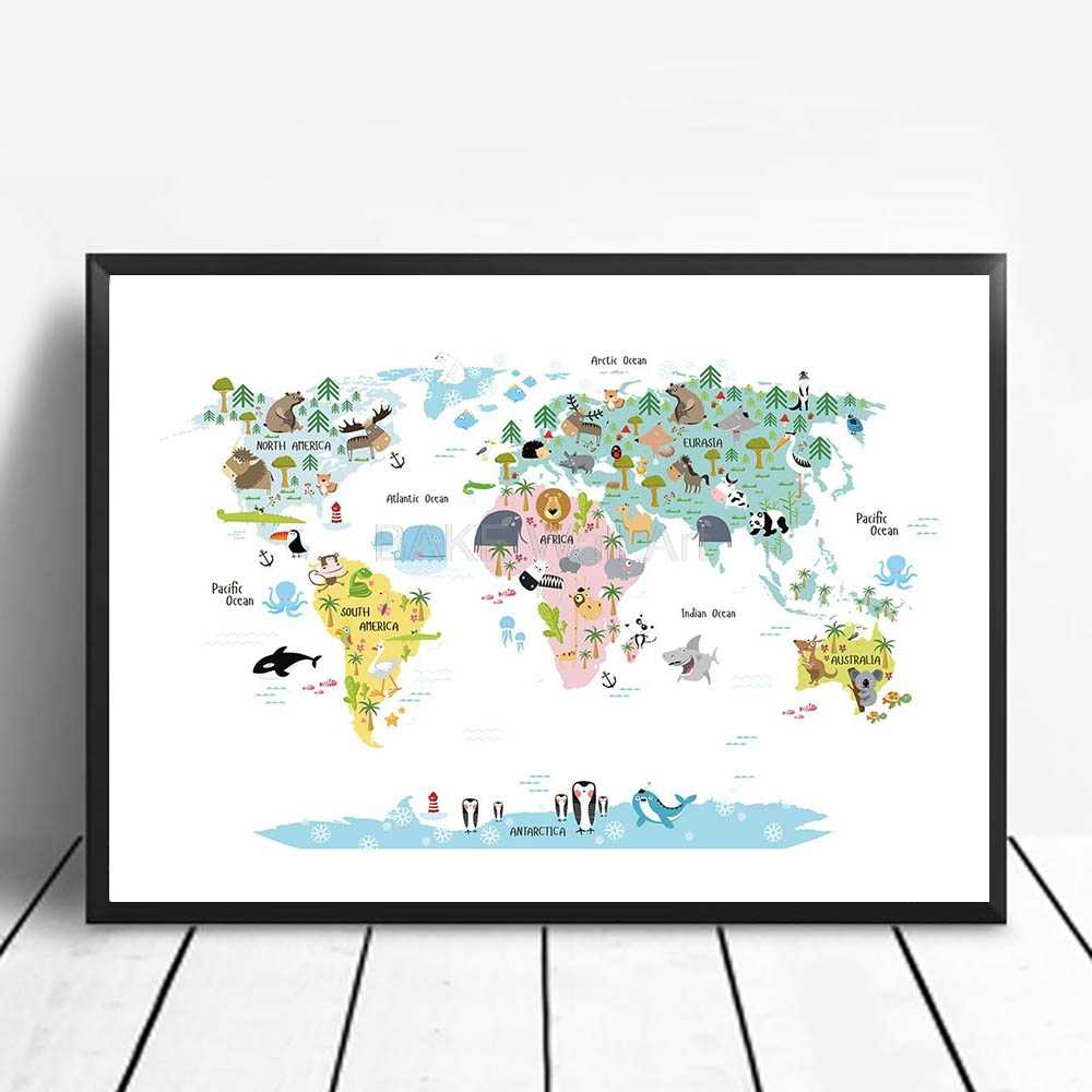 Posters And Prints nice kids with a map in pleasant colours Animal Poster canvas painting Wall Art Pictures For Living Room