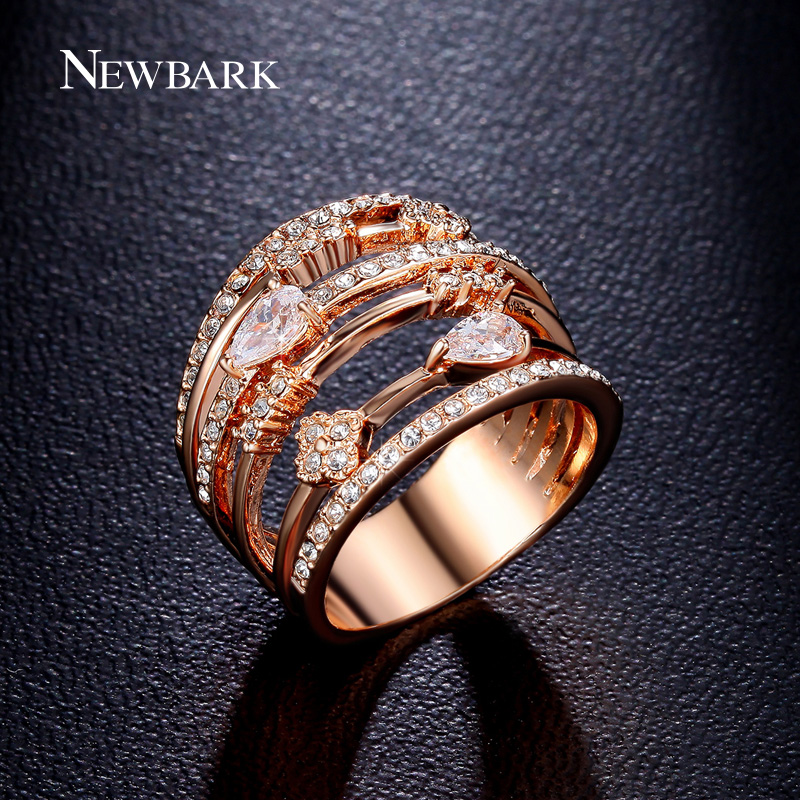 newbark high quality big cz half eternity rings rose gold and silver color prongs crown wedding jewelry rings for women NEWBARK Rings For Women Vintage Multilayer Hollow Wedding Rings Jewelry Rose Gold Color Cubic Zirconia Stone Anillos Mujer