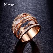 Newbark multilayer hollow anillos de boda anillos para las mujeres de la vendimia de joyería de oro rosa plateado zirconia cúbico de piedra anillos mujer