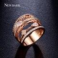 Newbark anéis para mulheres anéis de casamento jóias vintage multilayer oco rose banhado a ouro cubic zirconia pedra anillos mujer
