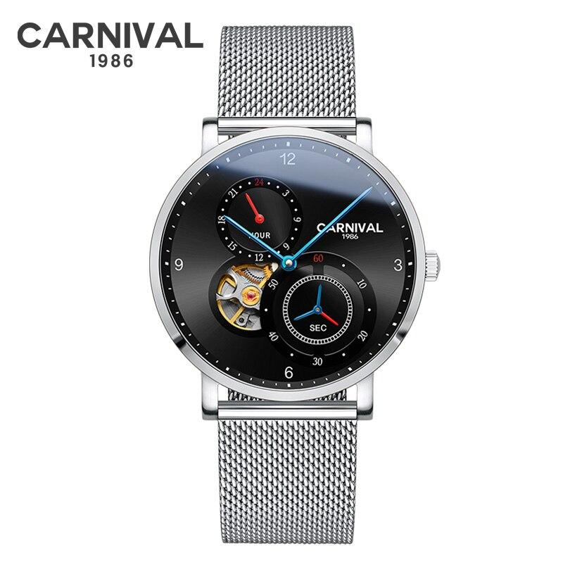 Здесь можно купить  Carnival Business Mens Watches Tourbillon Automatic Mechanical Watch Men Soft Mesh Belt Stainless Steel Wristwatch montres homme  Часы