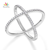 Peacock Star Women Solid 14K White Gold Crossover Ring 0.37 Ct Diamond 585 Fine Jewelry