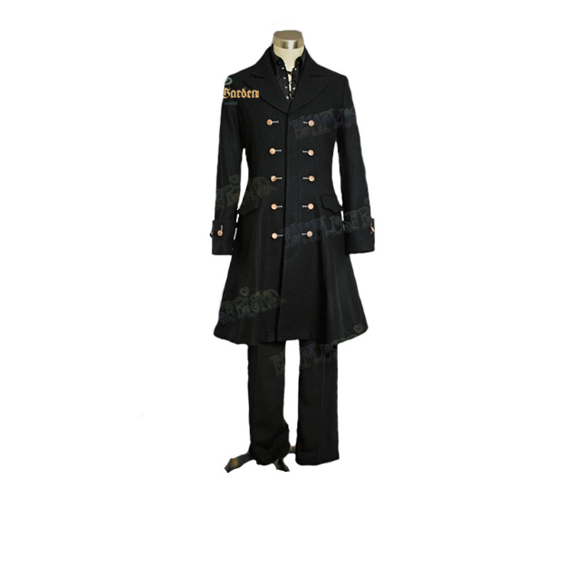 Victorian Elegant Gothic, Thick Wool Buttons Ornamental Frock Coat for Man*Knee Length