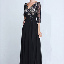 Simple Vestidos De Festa Black Mother's Evening Dress Long