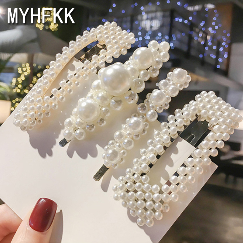 MYHFKK2019 hot fashion headwear Pearl Hair Clip Snap Hair Barrette Stick Hairpin Hair female hair jewelry inlaid hairpin FJ011(China)