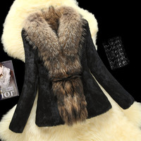 Для женщин с натуральным кроличьим мехом пальто с настоящим енота меховой воротник из натурального меха пальто плюс Размеры rf0175