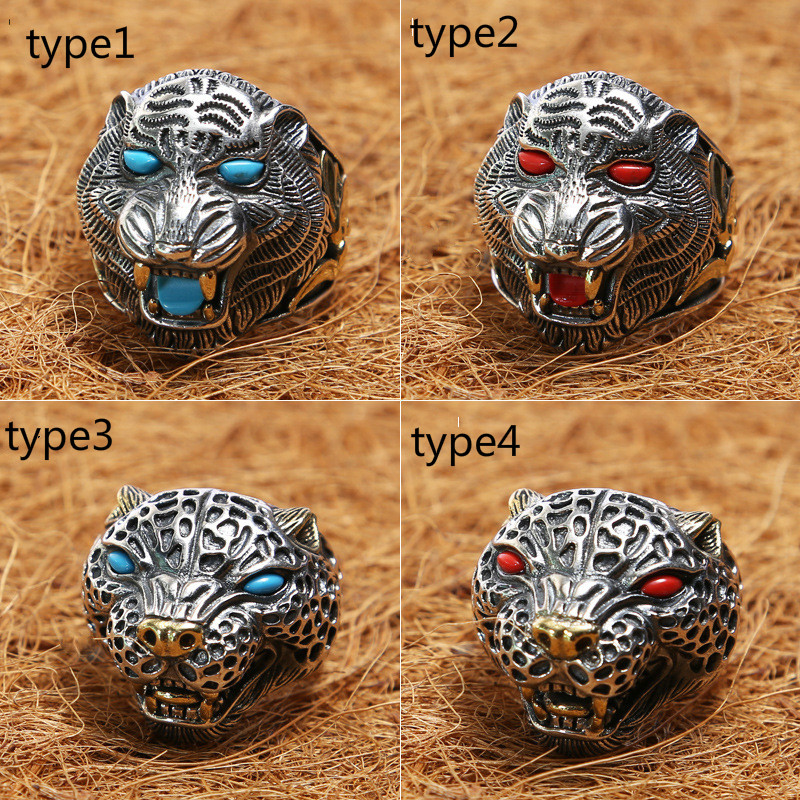 Real Pure 925 Sterling Silver Rings Antique Big Tiger Leopard Head Rings For Men Mens Animal Ring With Stone Fine JewelryReal Pure 925 Sterling Silver Rings Antique Big Tiger Leopard Head Rings For Men Mens Animal Ring With Stone Fine Jewelry
